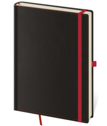 Notebook Black Red S lined