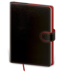Zápisník Flip L linkovaný černo/červený