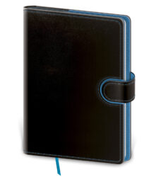 Notebook Flip L lined black/blue - Format: 143 x 205 mm