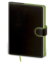 Notebook Flip L lined black/green - Format: 143 x 205 mm