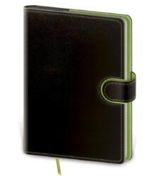 Zápisník Flip L linkovaný černo/zelený